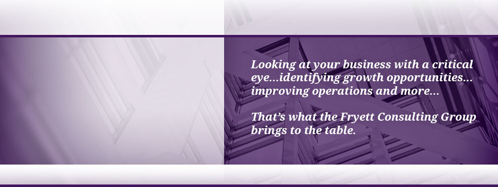 Looking at your business with a critical eye…identifying growth opportunities…improving operations…discovering strategic advantages and more…That's what the Fryett Consulting Group brings to the table.